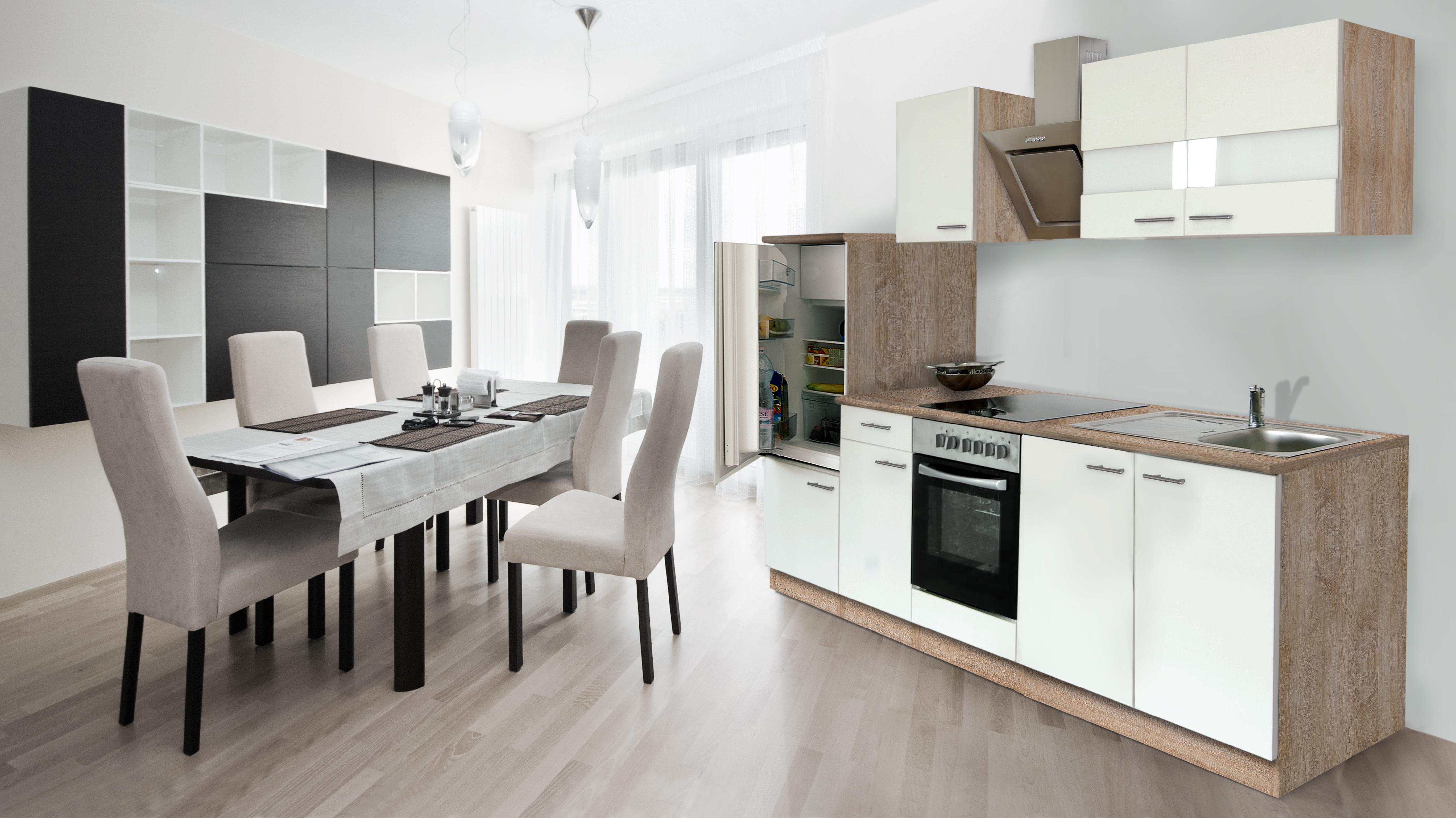 Dettagli su Cucinino Blocco Cucina Cucina Cucina Incasso 270 cm Rovere  Sonoma Bianco