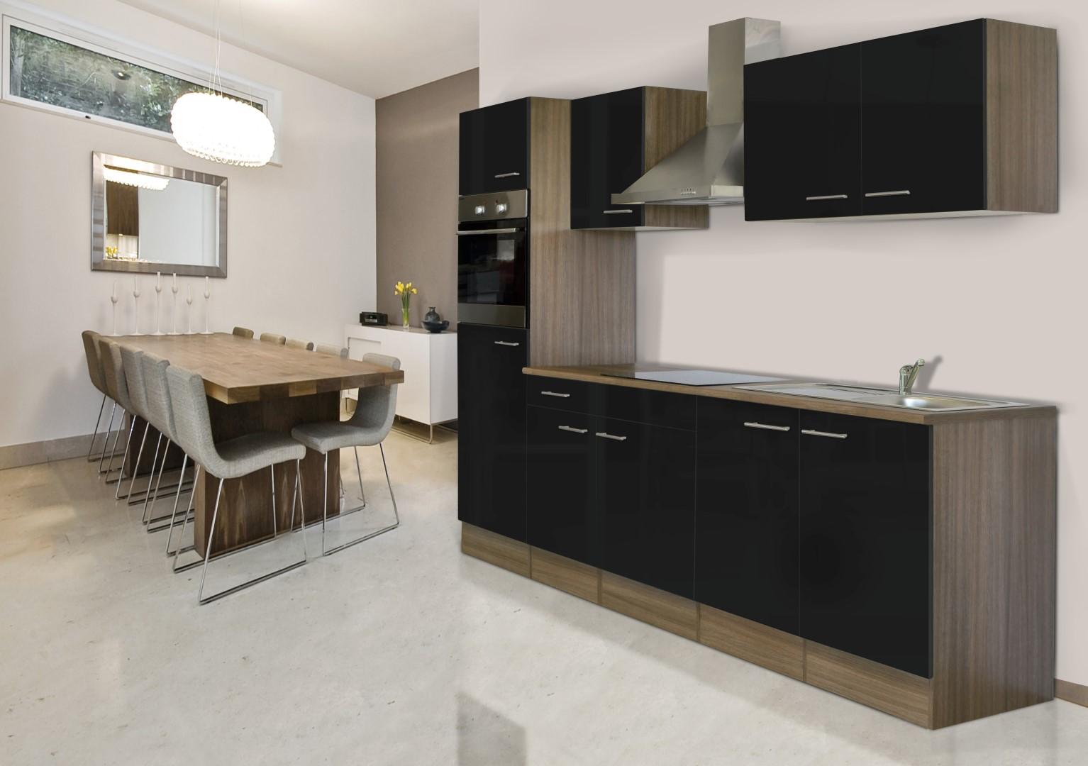k chenzeile k che k chenblock einbauk che 270 cm eiche. Black Bedroom Furniture Sets. Home Design Ideas