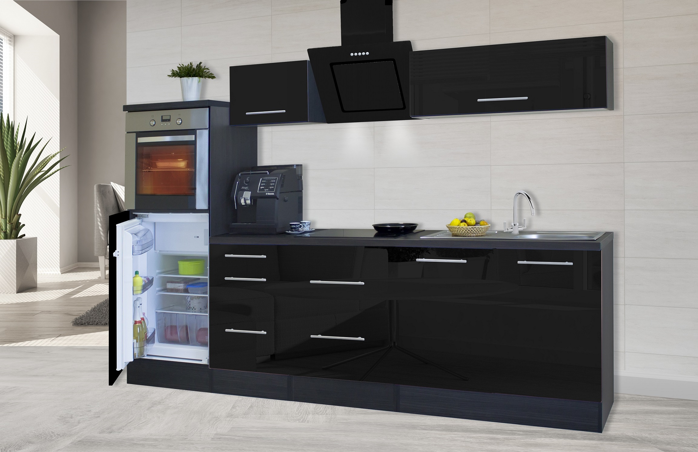 Respekta Premium Cucinino Cucina Blocco Vuoto 270 cm Rovere Grigio ...