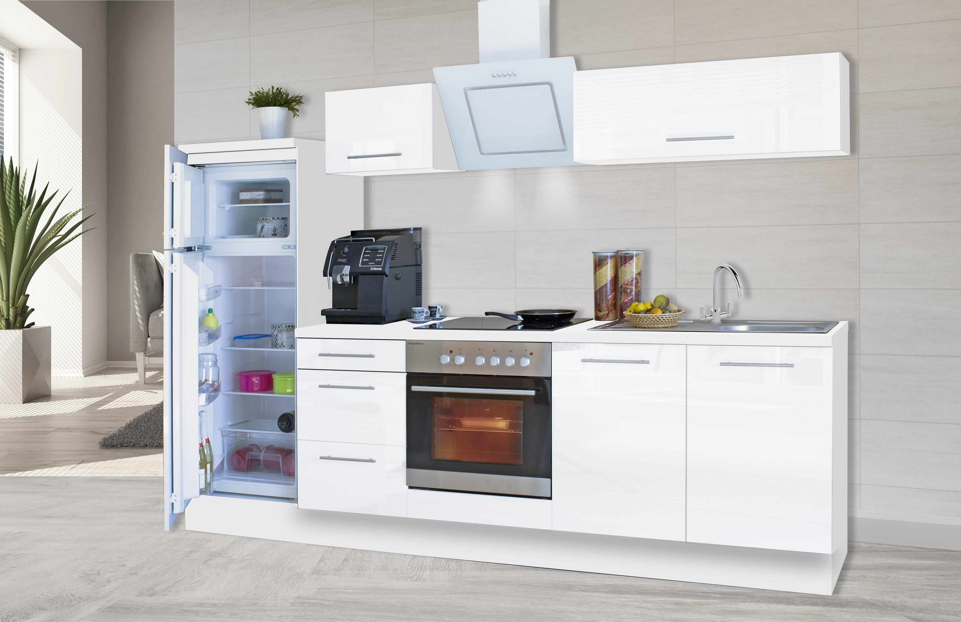 respekta premium einbau k che k chenzeile 270cm wei wei hochglanz saarland. Black Bedroom Furniture Sets. Home Design Ideas