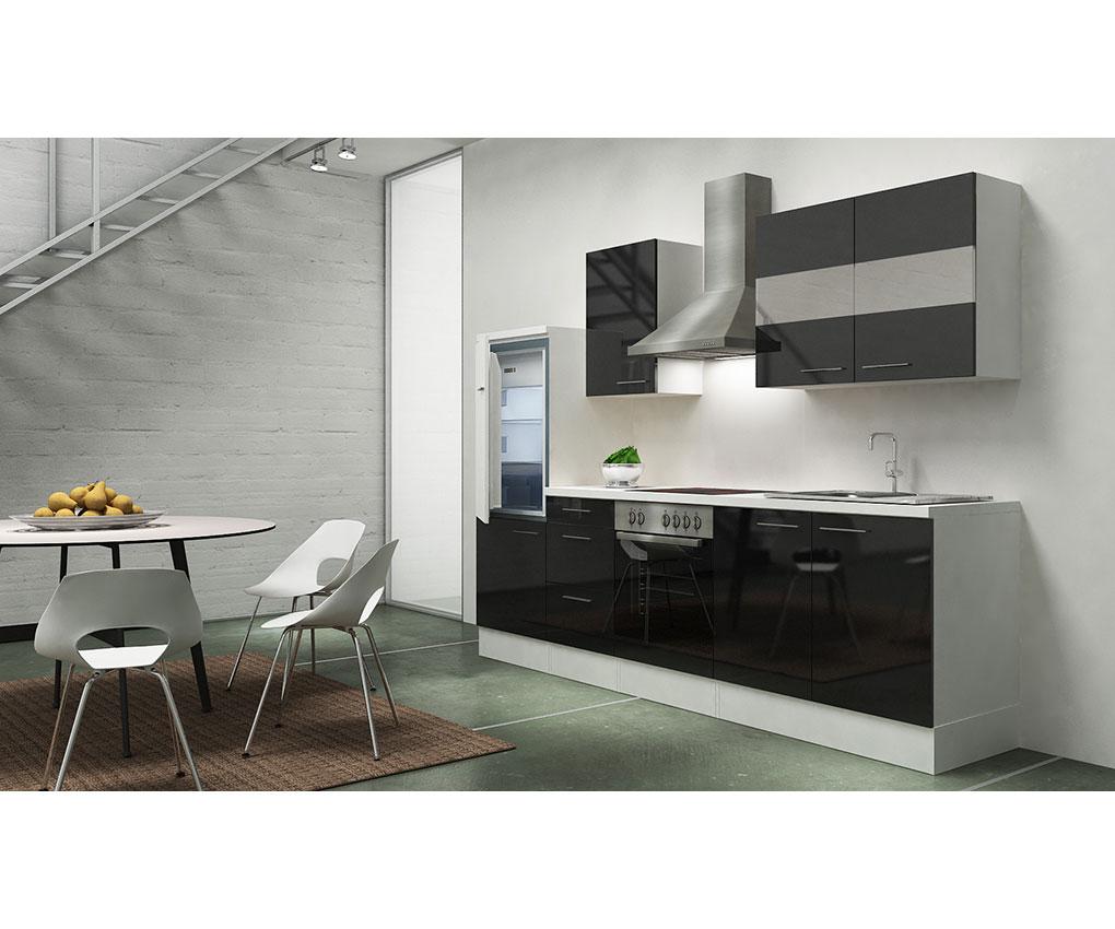 respekta premium k che k chenzeile k chenleerblock leerblock 270cm weiss schwarz ebay. Black Bedroom Furniture Sets. Home Design Ideas