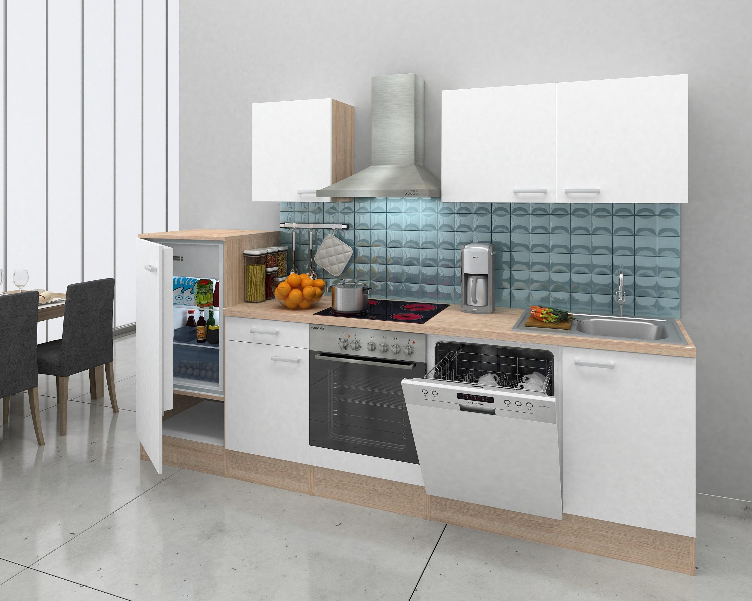 respekta einbau k che k chenzeile k chenblock 280 cm eiche natura weiss ceran ebay. Black Bedroom Furniture Sets. Home Design Ideas