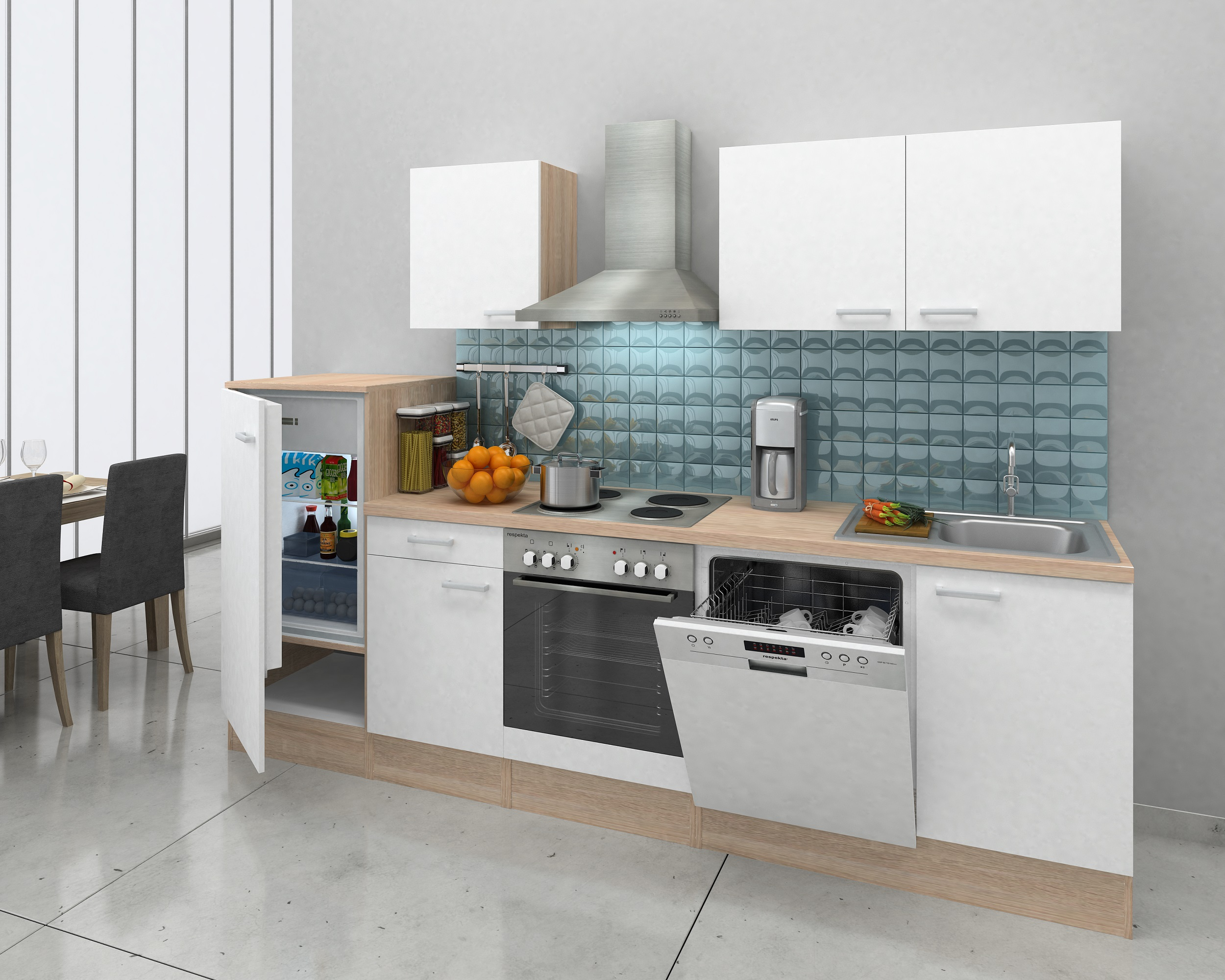 respekta einbau k che k chenzeile k chenblock 280 cm eiche natura nachb weiss ebay. Black Bedroom Furniture Sets. Home Design Ideas