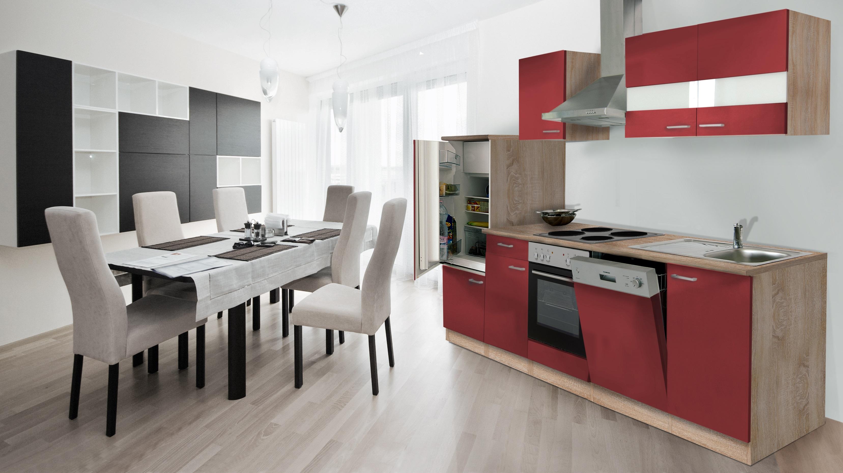 RESPEKTA Cucinino cucina incasso BLOCCO 280 cm rovere ruvido-segato ...