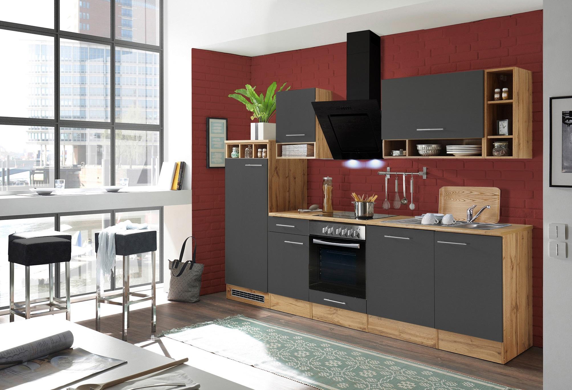 Küche Küchenzeile Küchenblock Einbauküche 280 cm Wildeiche grau ...