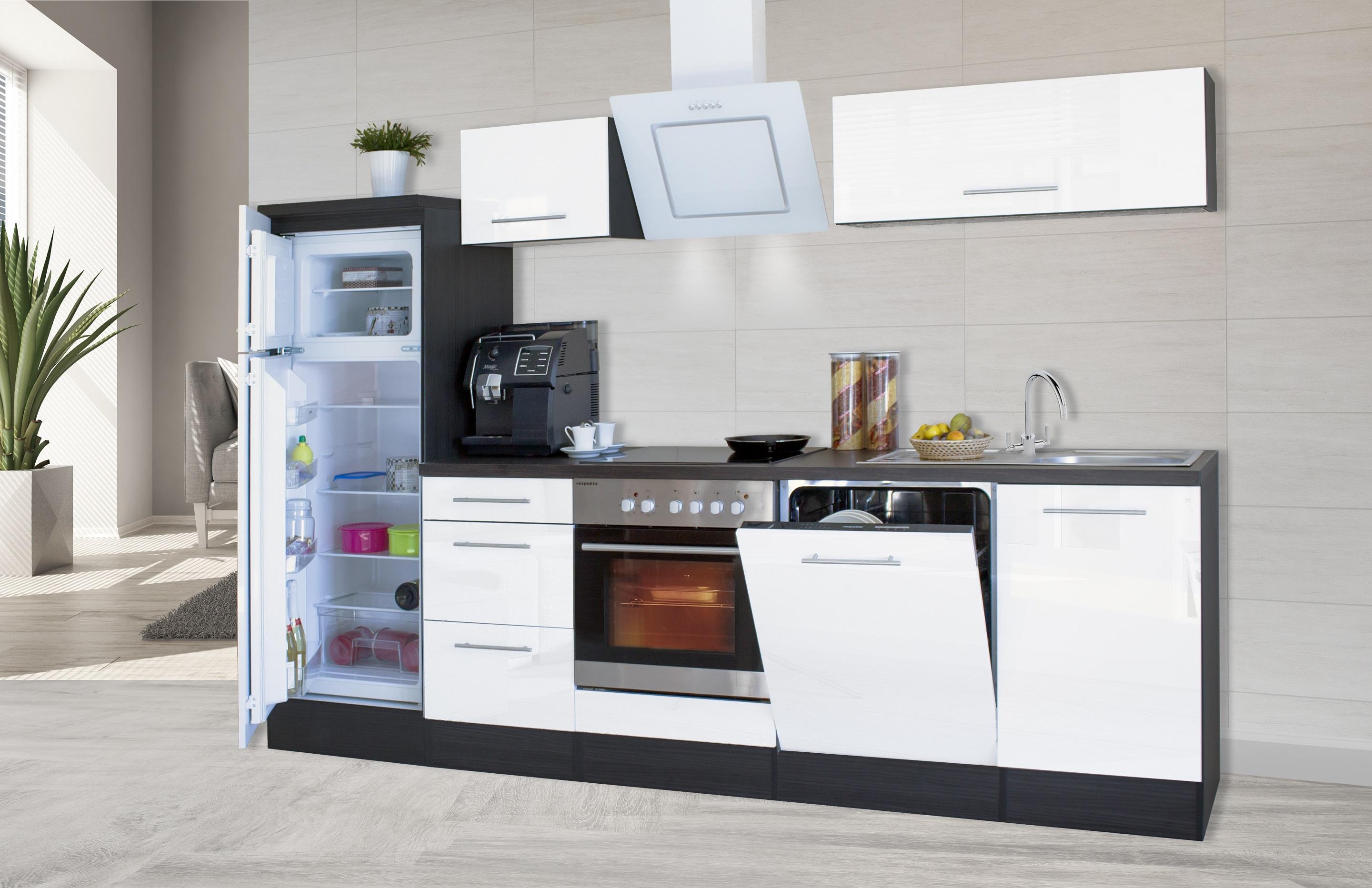 respekta premium einbau k che k chenzeile 280 cm eiche weiss glanz ceran umluft ebay. Black Bedroom Furniture Sets. Home Design Ideas