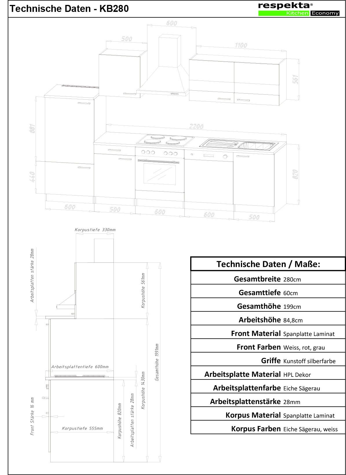 respekta k chenzeile einbauk che k chenblock k che weiss. Black Bedroom Furniture Sets. Home Design Ideas