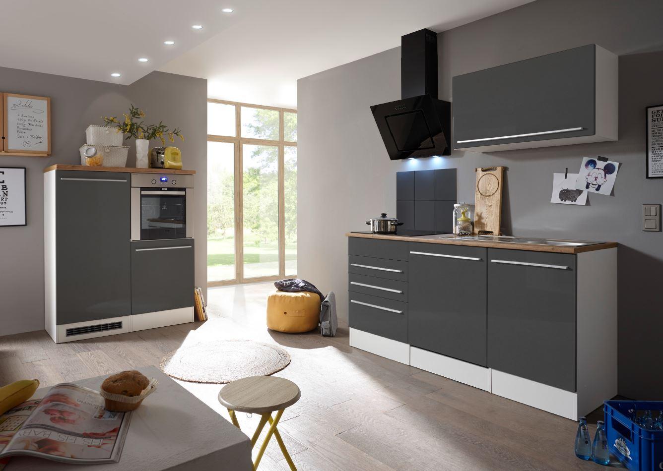 respekta premium k chenzeile k chenblock einbauk che wei grau hochglanz 290 cm ebay. Black Bedroom Furniture Sets. Home Design Ideas