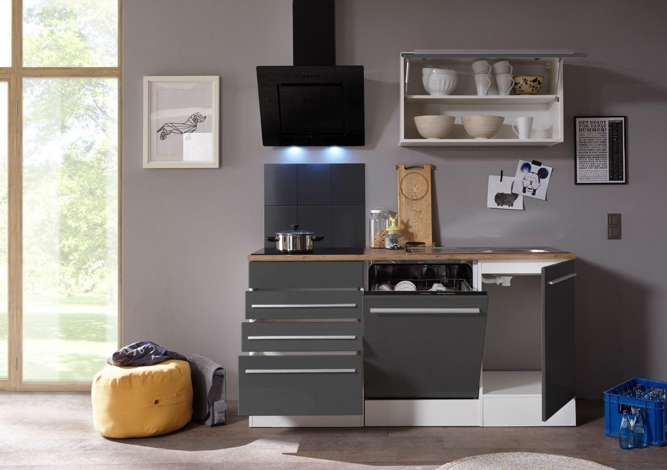 respekta Premium Küchenzeile Küchenblock Einbauküche weiß