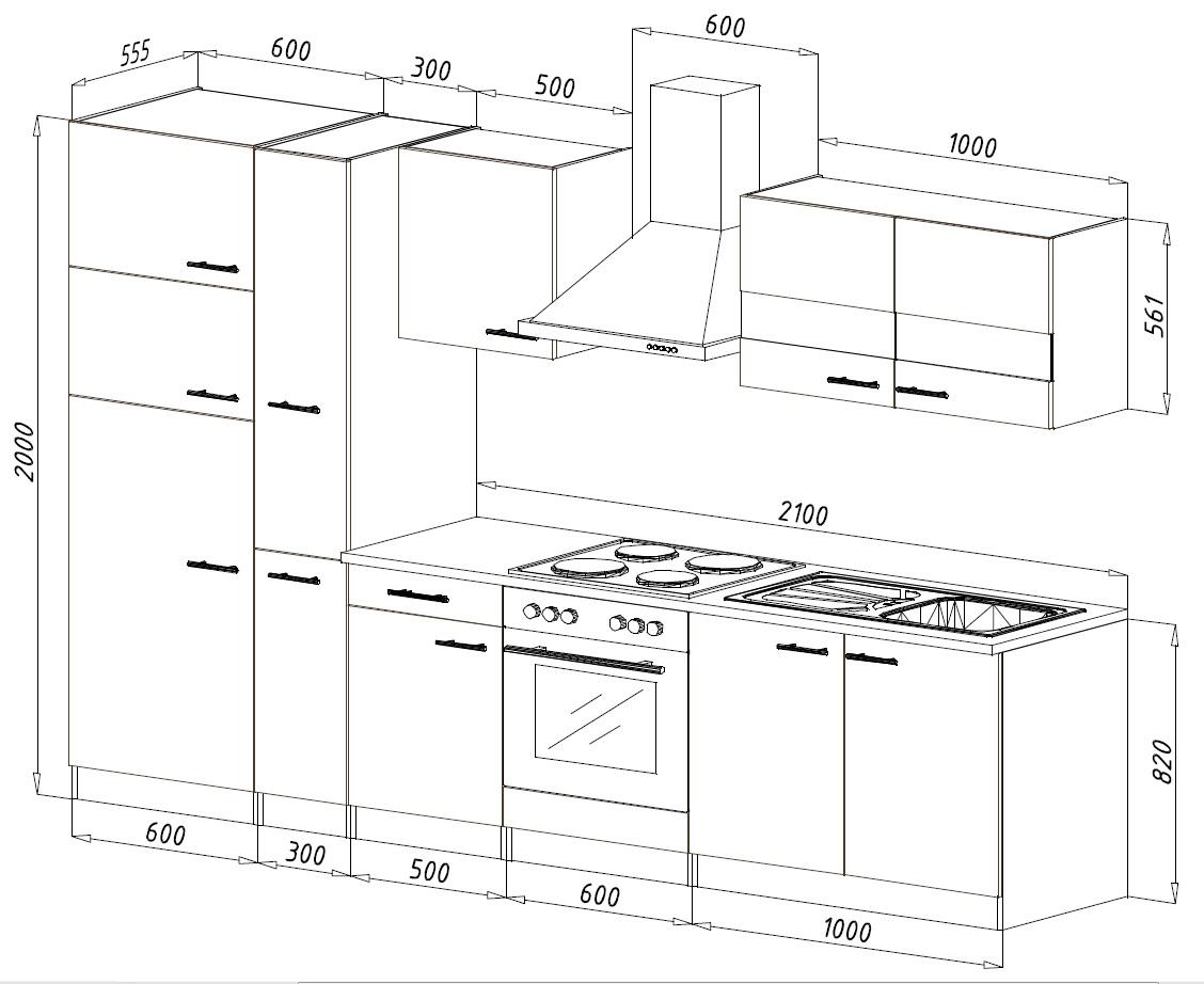respekta einbau k che k chenzeile 300 cm eiche s gerau grau k hl gefrierkombi ebay. Black Bedroom Furniture Sets. Home Design Ideas