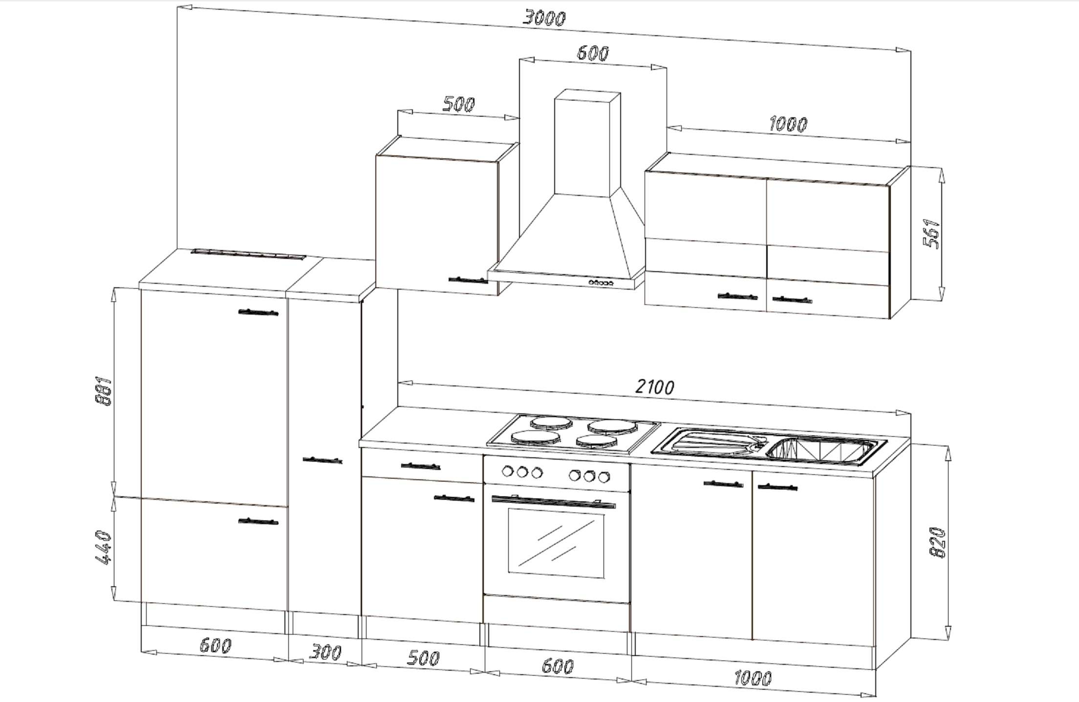 K che k chenzeile k chenblock einbau leerblock 300 cm for Kuchenzeile 300 cm