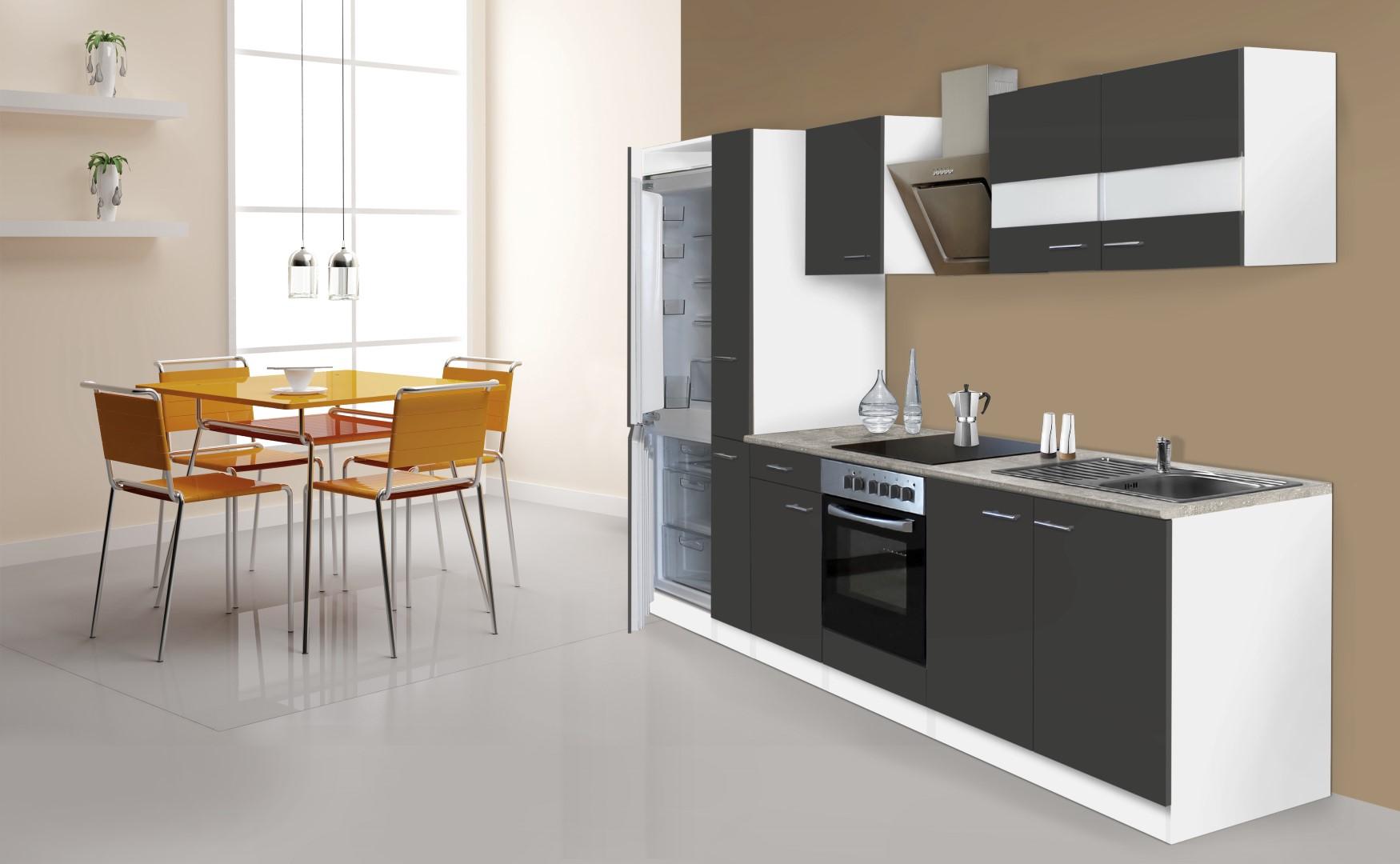 respekta küche küchenzeile küchenblock 300cm weiß grau