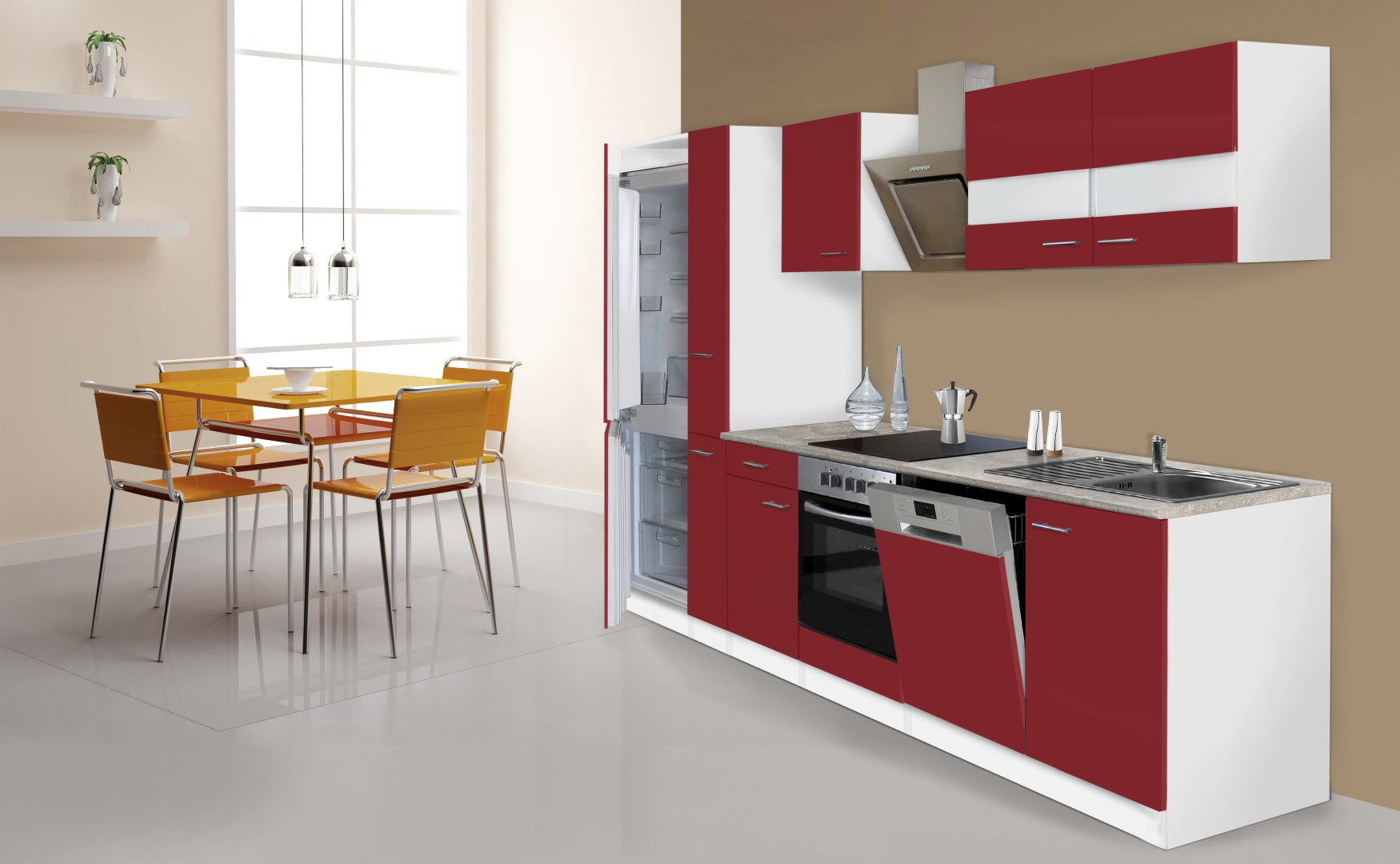 respekta k che k chenzeile k chenblock 310cm wei rot k hlkombi designhaube ebay. Black Bedroom Furniture Sets. Home Design Ideas