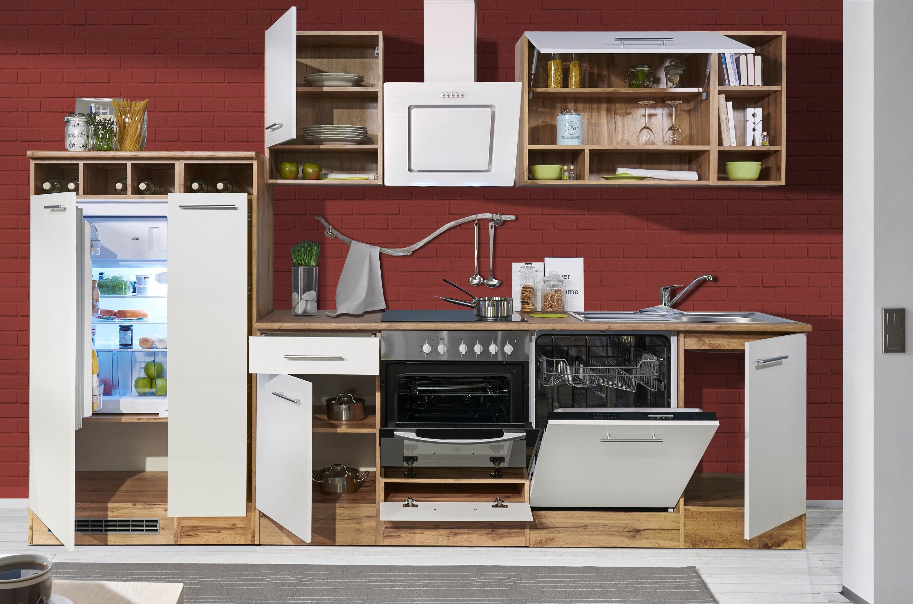 k che k chenzeile k chenblock einbauk che 310 cm wildeiche wei respekta ebay. Black Bedroom Furniture Sets. Home Design Ideas