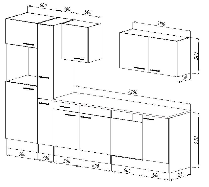 respekta k chenleerblock k che leerblock k chenzeile 310 cm eiche york grau ebay. Black Bedroom Furniture Sets. Home Design Ideas