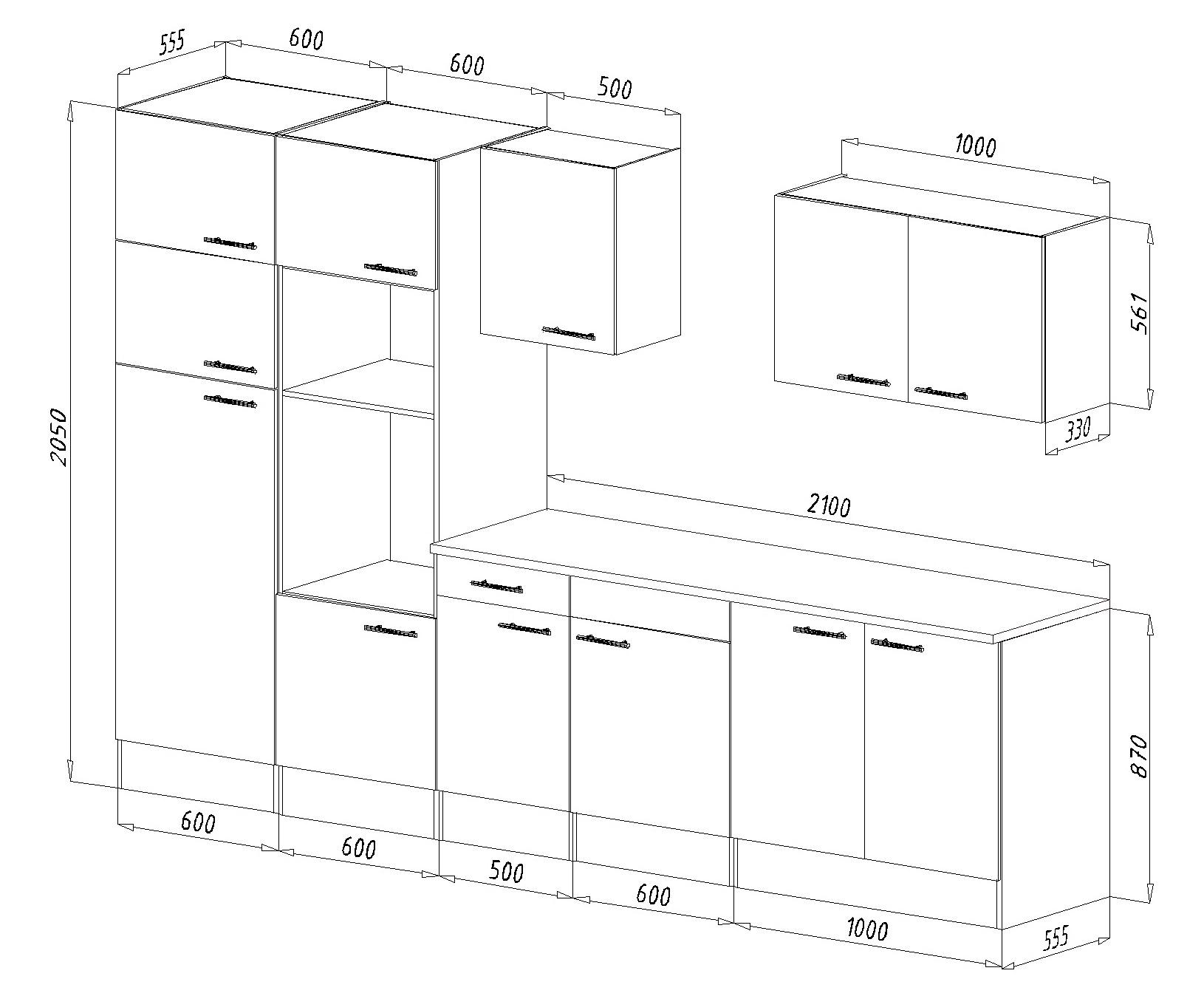 respekta Einbau Küche Küchenzeile Küchenblock 330 cm Eiche York grau ...