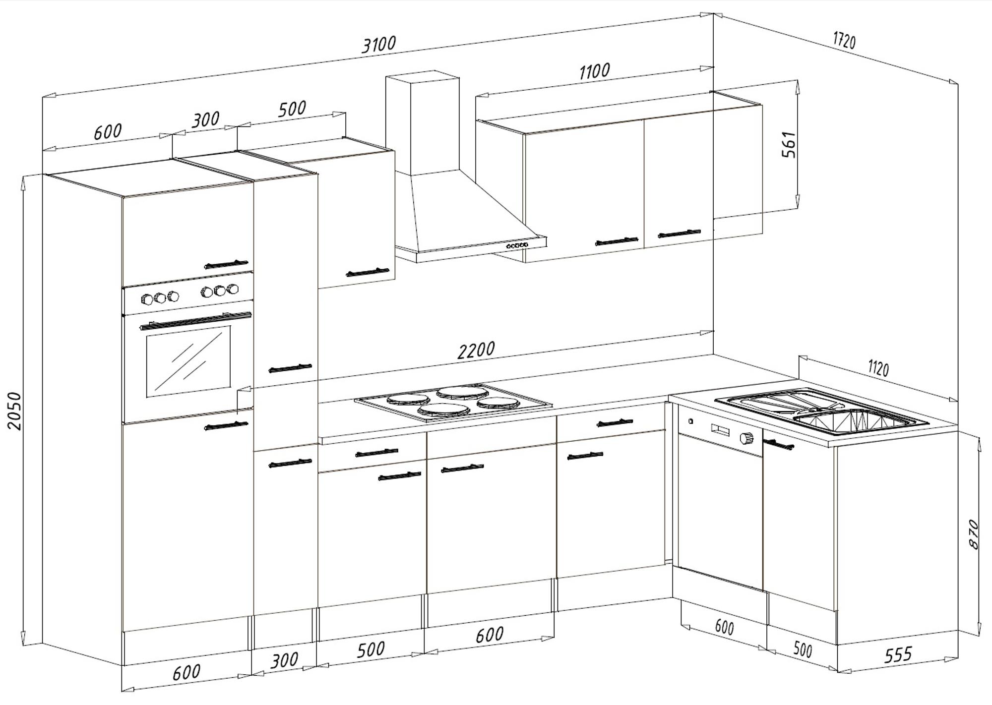 respekta k chenzeile k che winkelk che l form eiche york. Black Bedroom Furniture Sets. Home Design Ideas