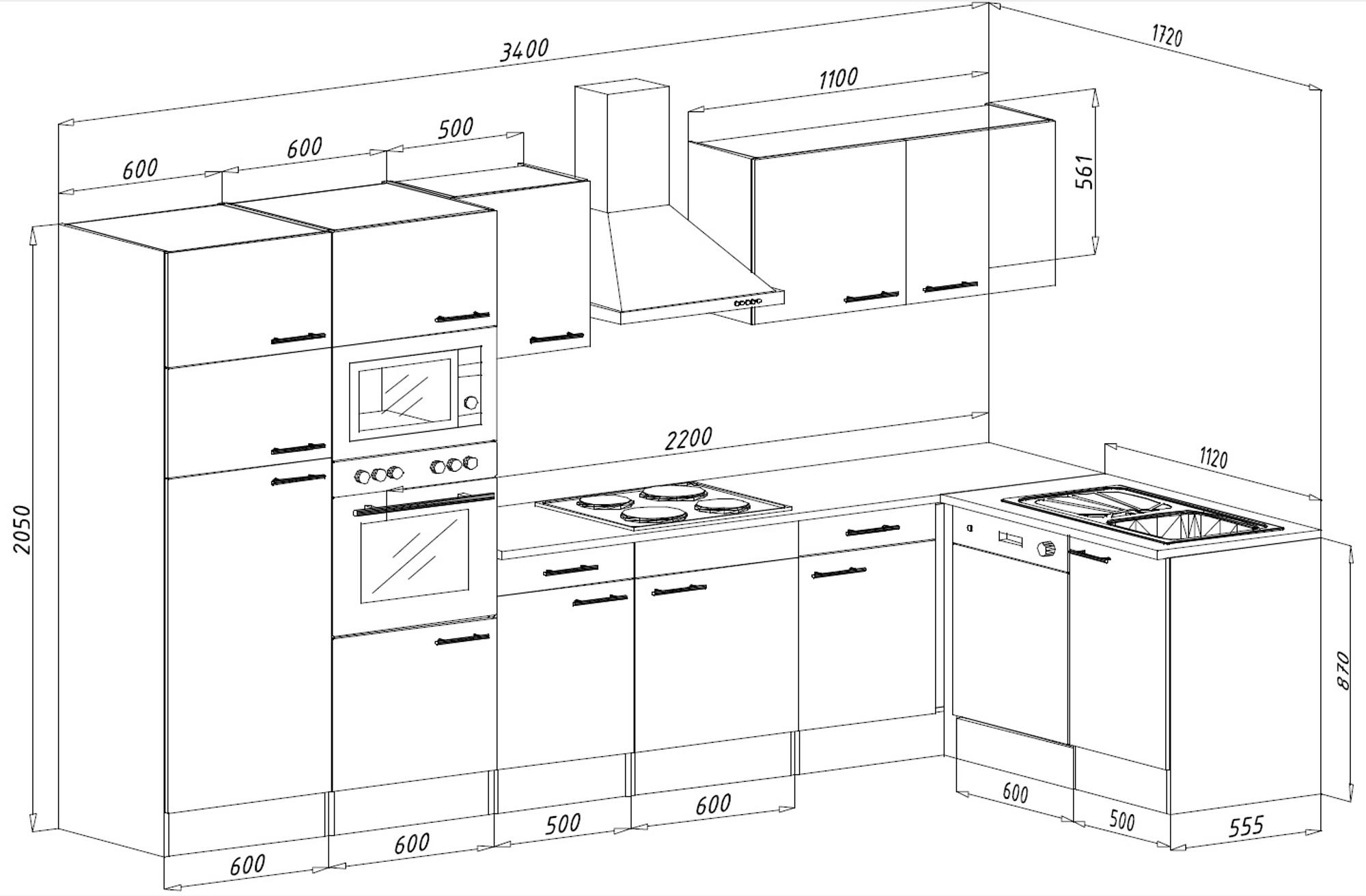 k chenzeile k che winkelk che l form k che eiche york wei 340x172cm respekta ebay. Black Bedroom Furniture Sets. Home Design Ideas
