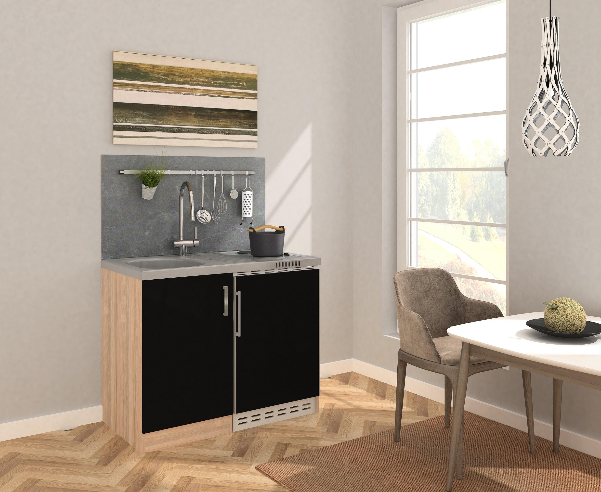 Dettagli su Mini Cucina Cucina Angolo Cucina Blocco Cucina 100 cm Rovere  Segato Grezzo Nero