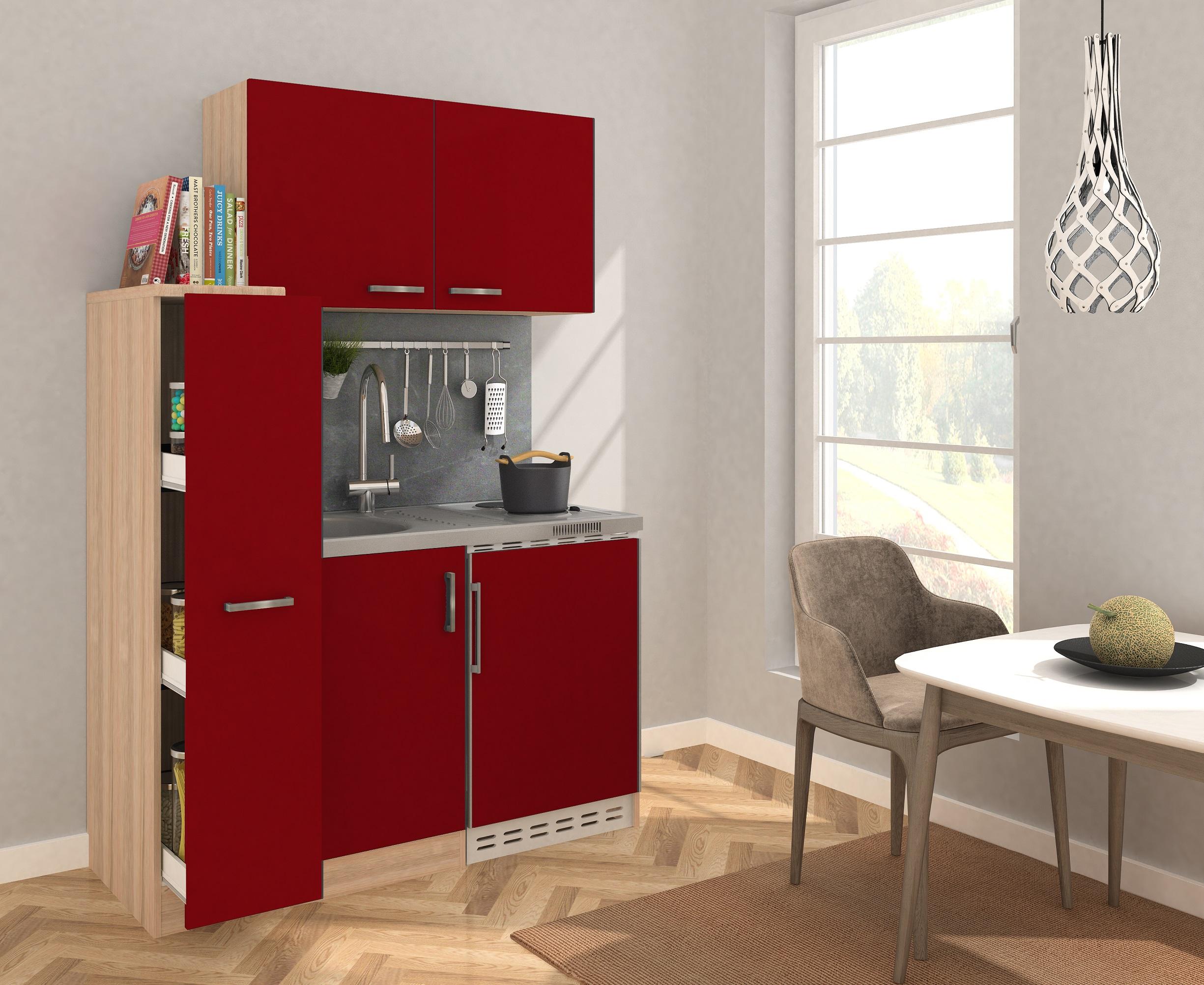 Dettagli su Cucina Mini Blocco Angolo Cottura 130 cm Rovere Ruvido-Segato  Rosso Respekta
