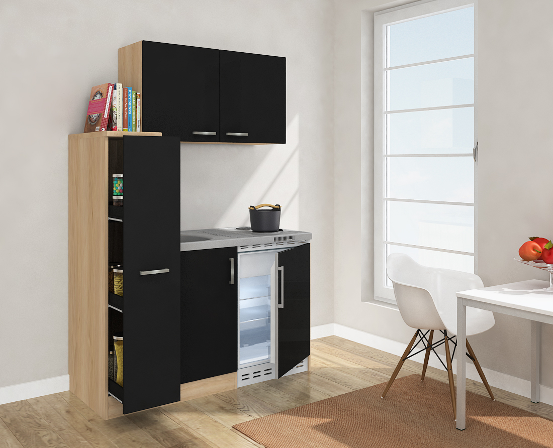 respekta minik che k che singelk che 130cm mit oberschrank eiche s gerau schwarz ebay. Black Bedroom Furniture Sets. Home Design Ideas