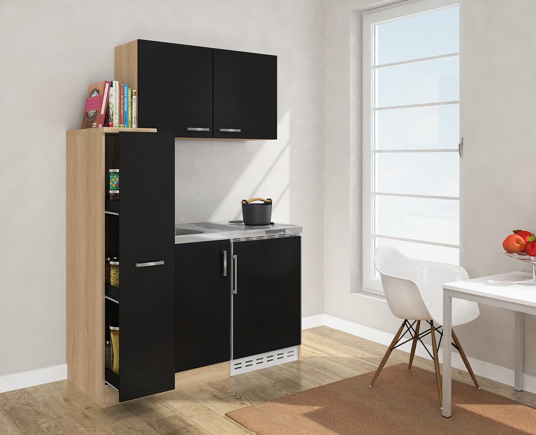 respekta minik che k che singelk che 130cm mit oberschrank eiche s gerau schwarz ebay. Black Bedroom Furniture Sets. Home Design Ideas