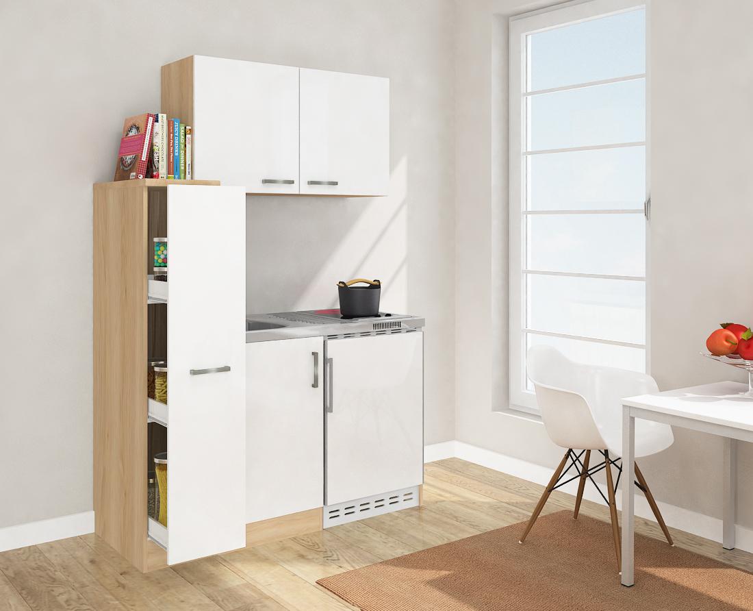 respekta mini k che singelk che 130cm mit oberschrank eiche s gerau wei ceran ebay. Black Bedroom Furniture Sets. Home Design Ideas
