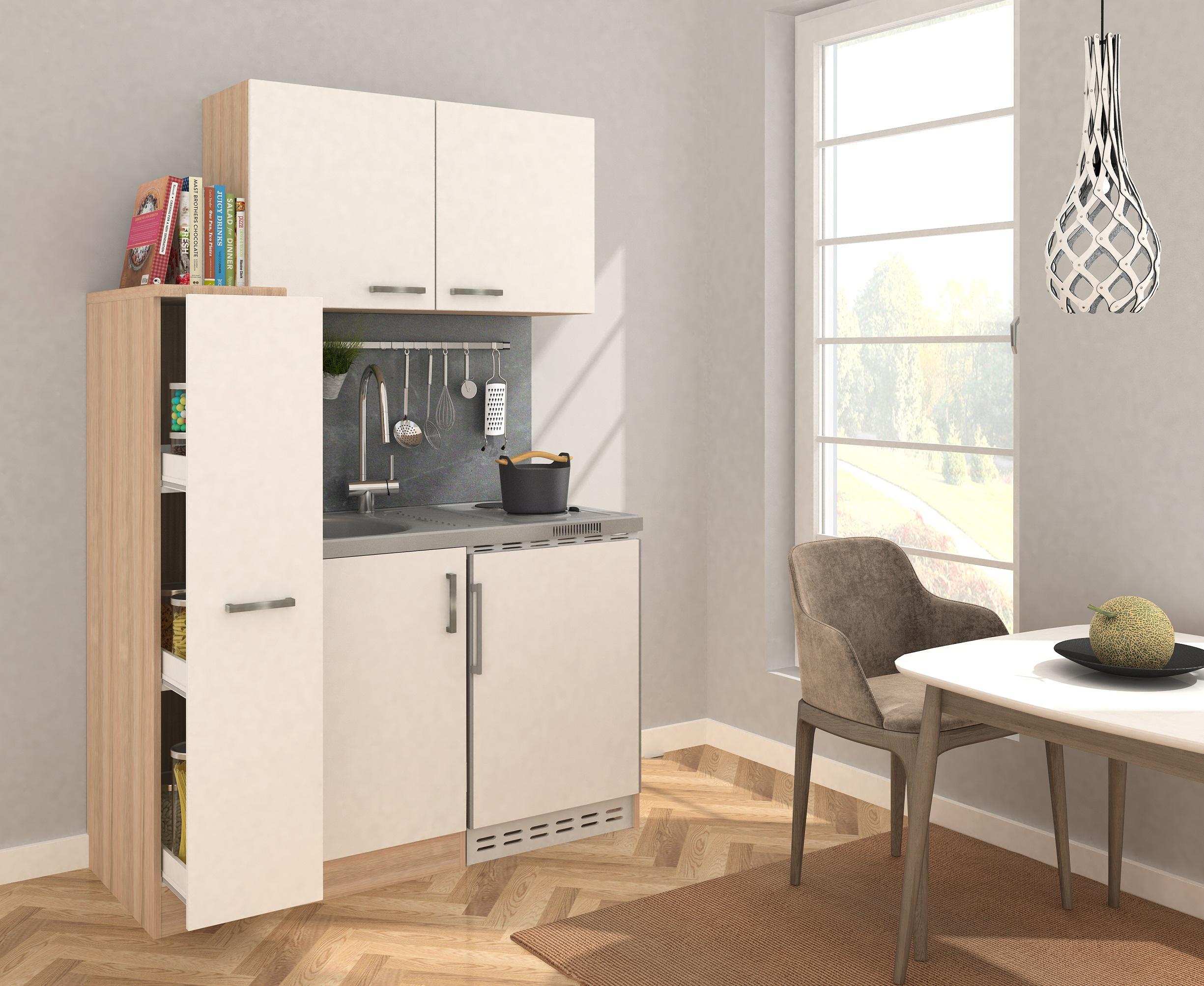 Dettagli su Cucina Mini Blocco Angolo Cottura 130 cm Rovere Ruvido-Segato  Bianco