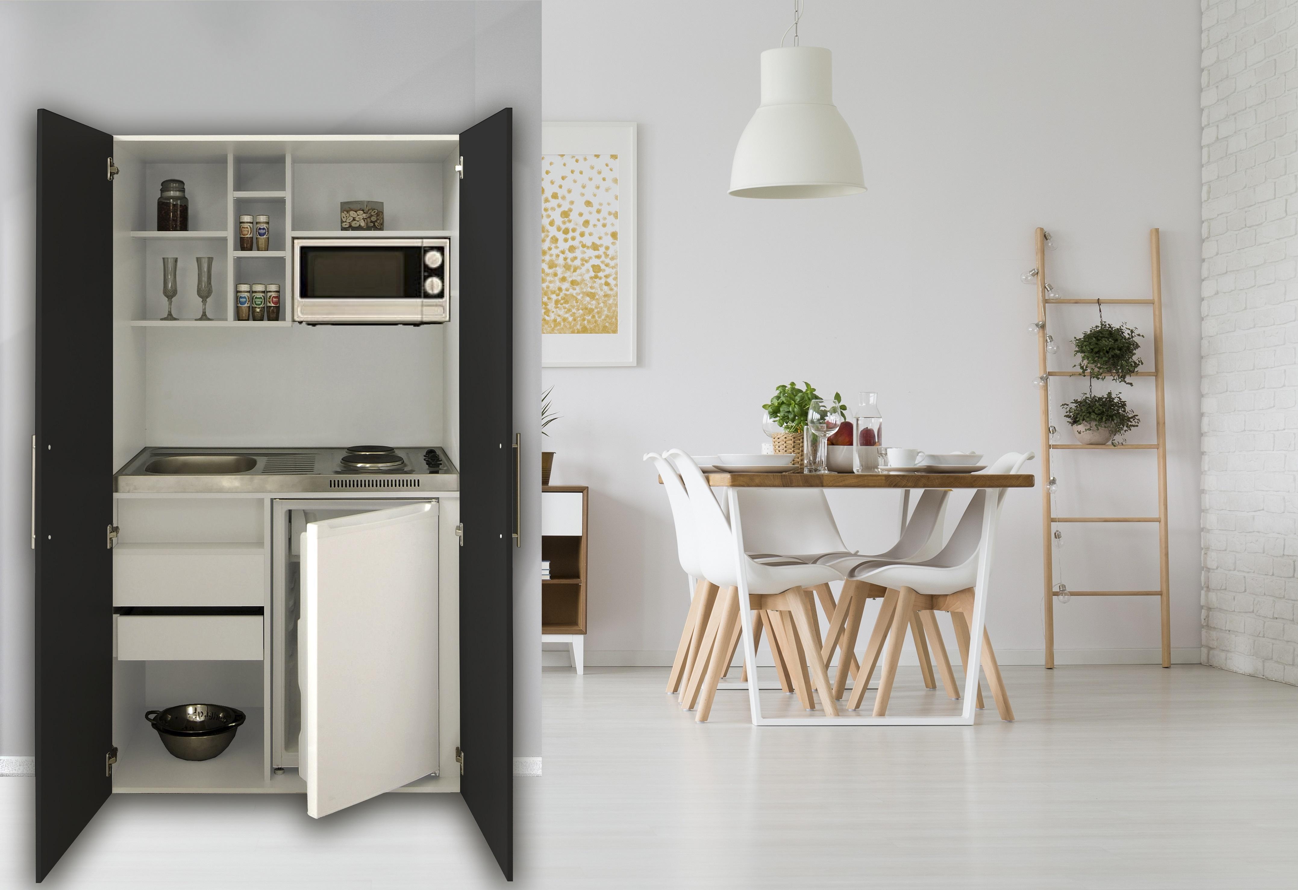 Dettagli su Cucina Armadio Cucina Mini Cucina Blocco Cucina Angolo Cottura  Bianco Nero