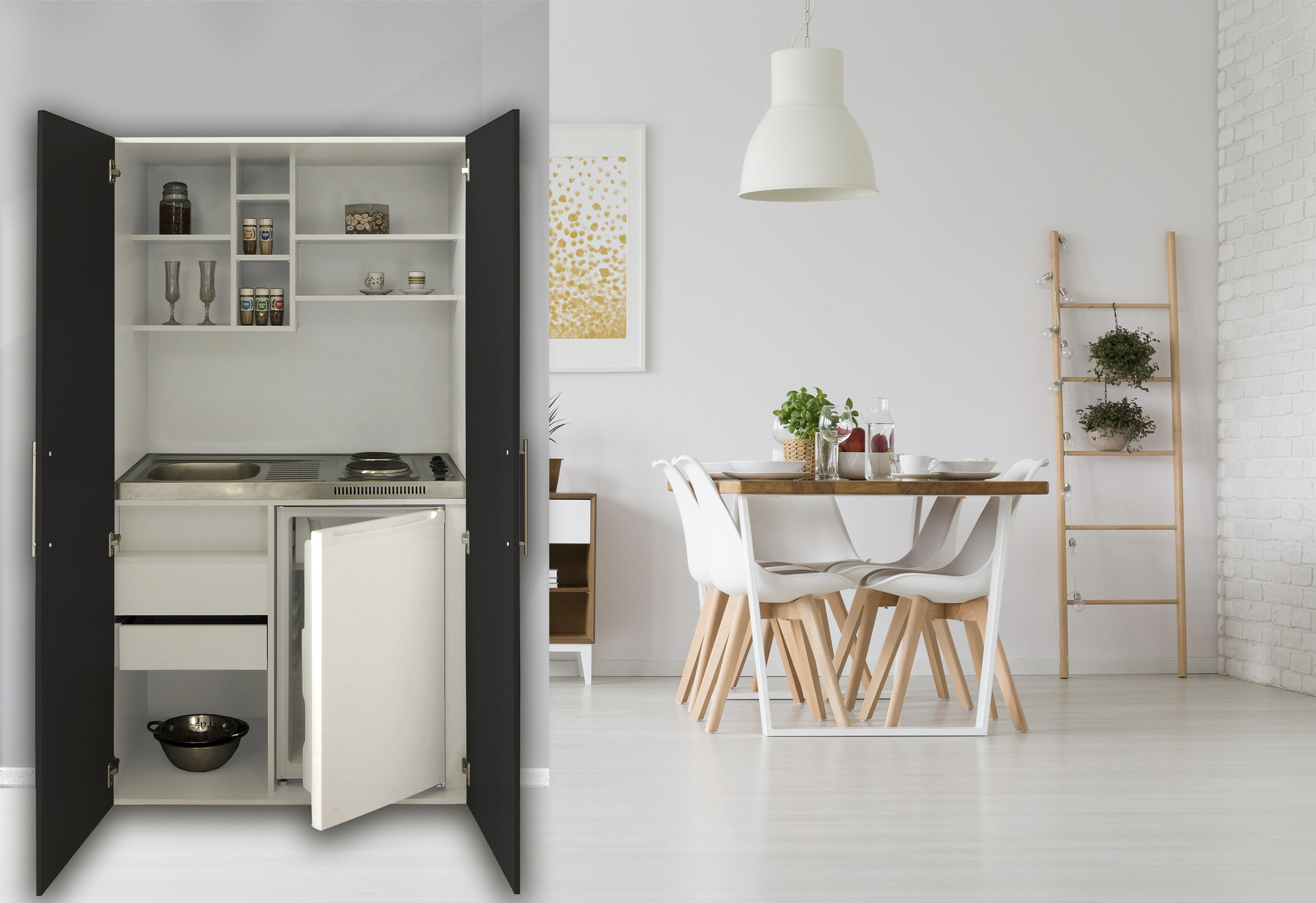 Cucina Armadio Mini Cucinino Ufficio Blocco Bianco Nero Respekta | eBay
