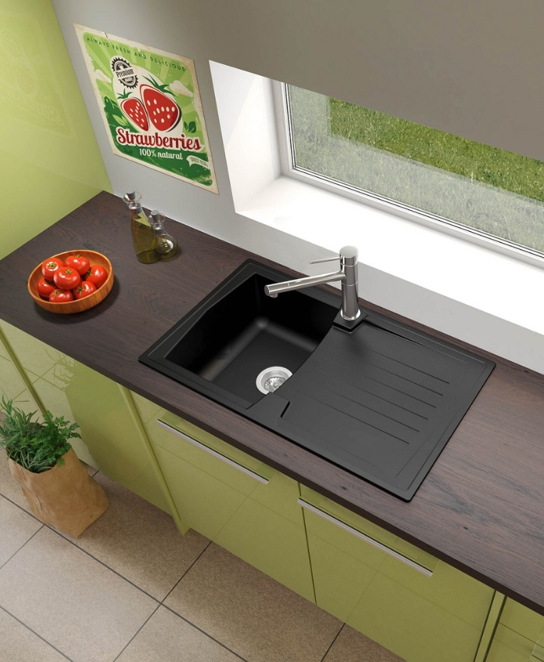 sp le k chensp le einbausp le mineralite sp lbecken 86 x 50 schwarz respekta ebay. Black Bedroom Furniture Sets. Home Design Ideas