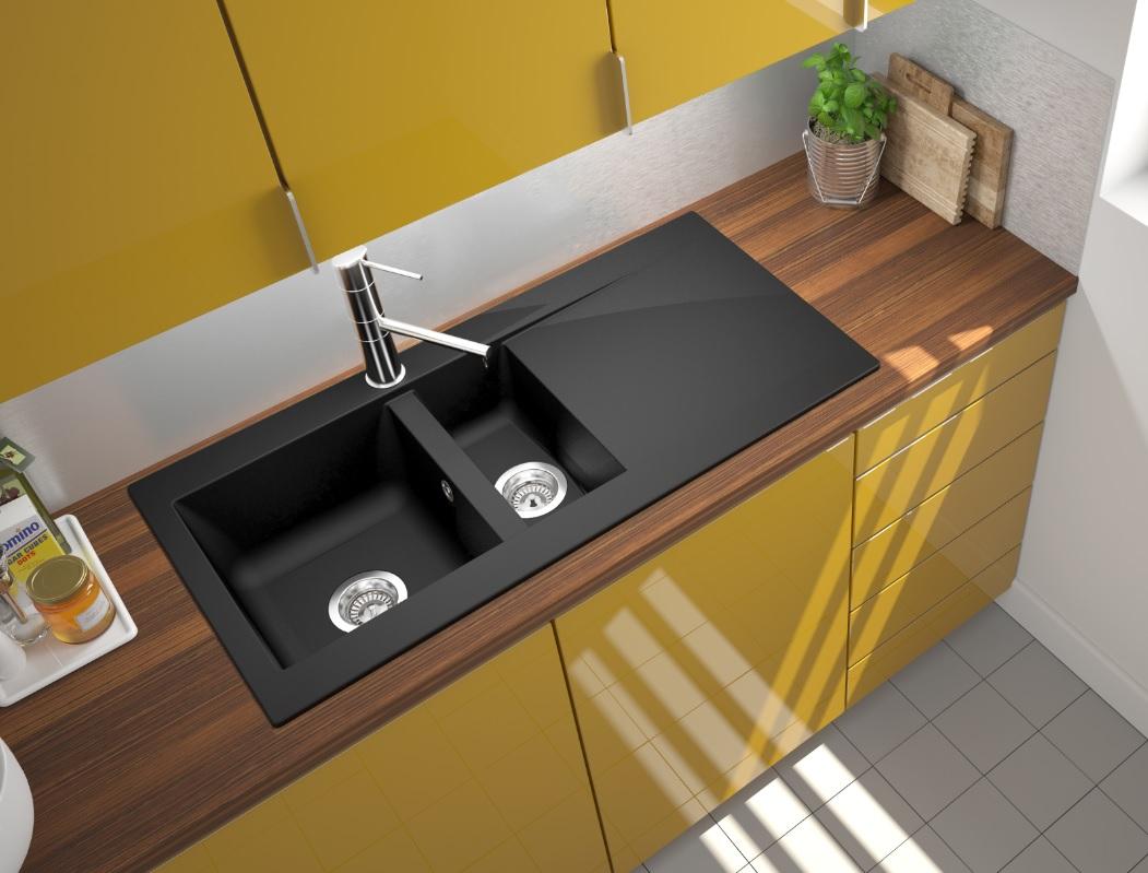 Spüle Küchenspüle Einbauspüle Mineralite Spülbecken 100 x 50 schwarz ...