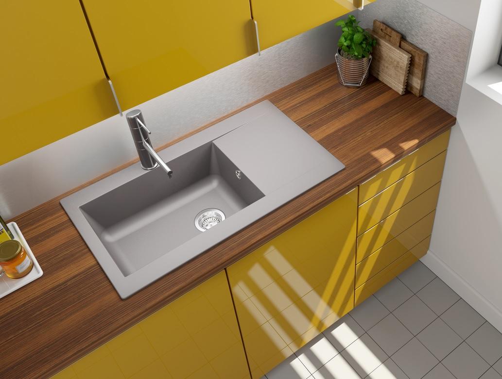 Lavandino lavello incasso cucina mineralite 86 x 50 grigio calcestruzzo respekta ebay - Lavello cucina angolare ...
