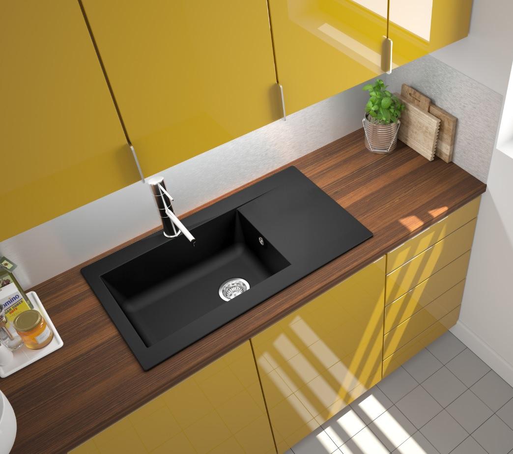 Lavandino Cucina Con Gocciolatoio dettagli su lavello cucina lavello incasso granito cucina 86 x 50 nero  mineralite respekta
