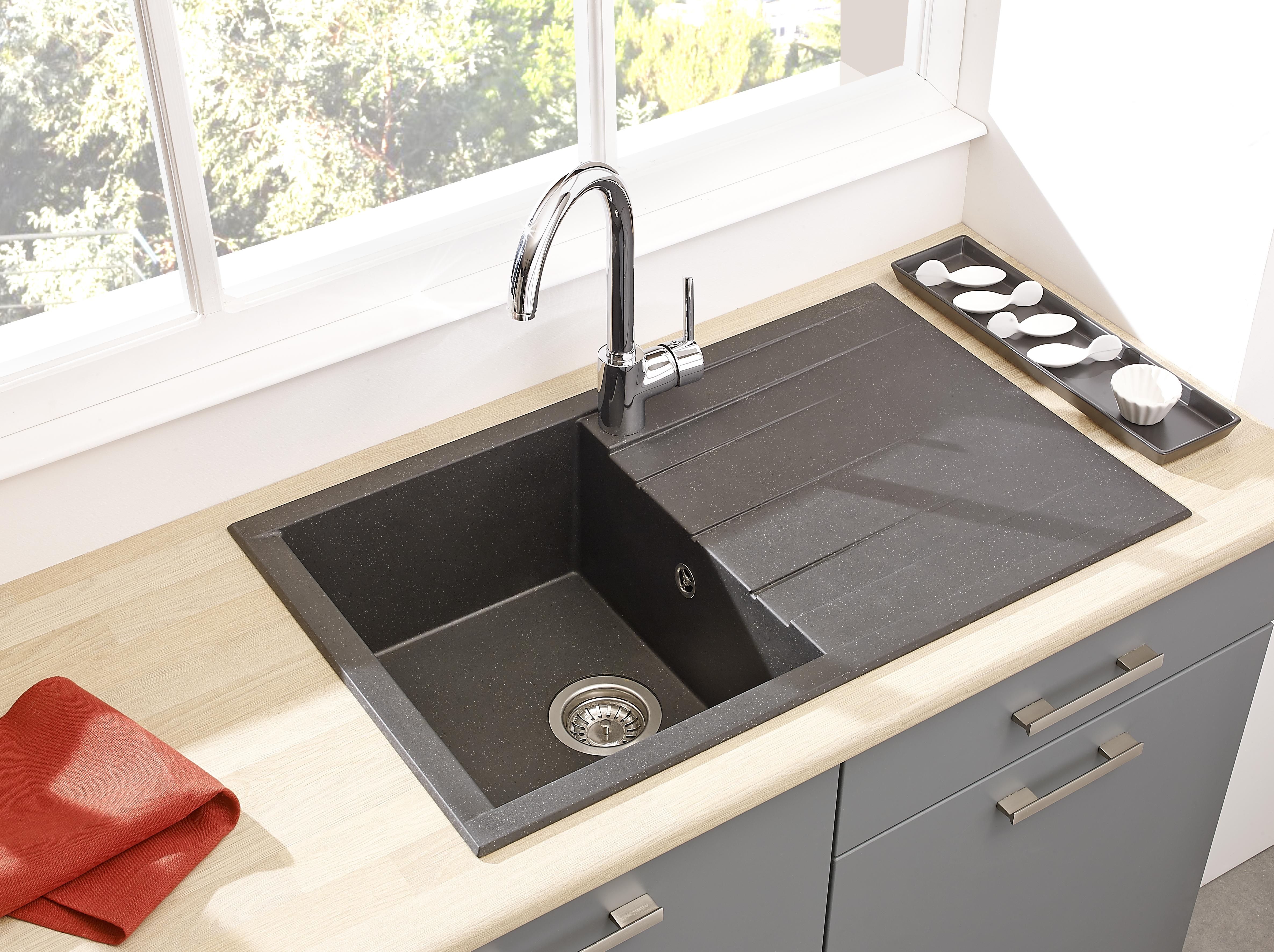 Dettagli su Lavello Cucina Installazione Filo Lavandino Granito Mineralite  80x50 Nero