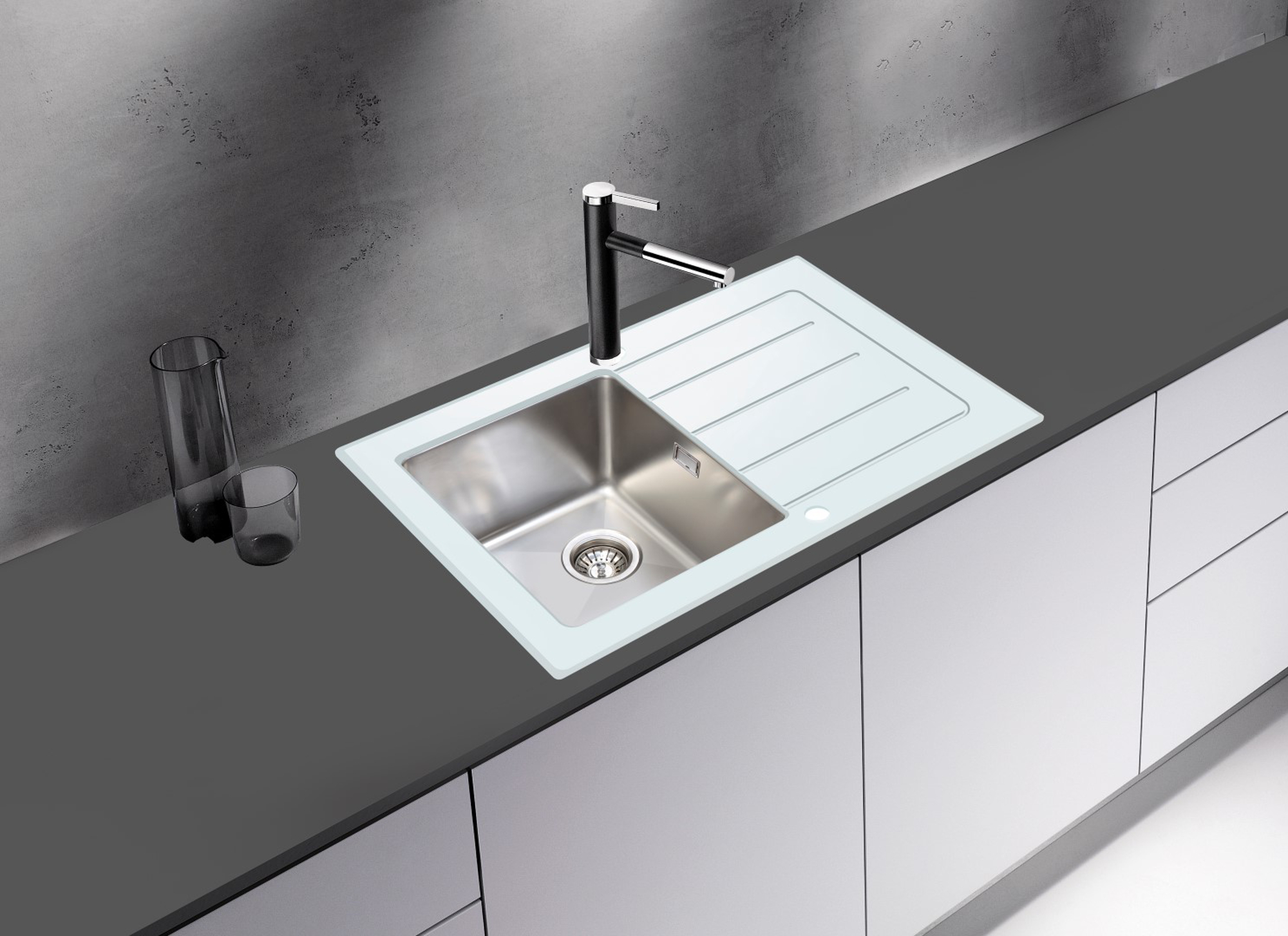 respekta vier en verre encastr new york 86x50 blanc avec excenter ebay. Black Bedroom Furniture Sets. Home Design Ideas